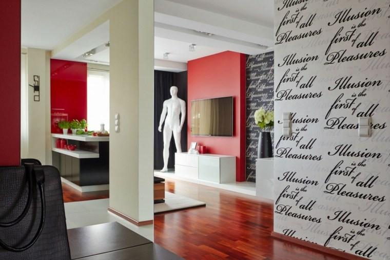 casa decor cocina salon pared rojas preciosas ideas