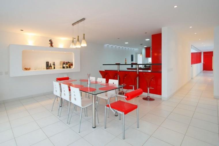 casa decor cocina roja barra diseno ideas