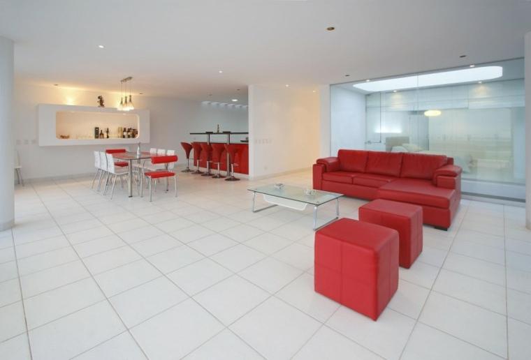 casa decor cocina salon comedor muebles rojos ideas