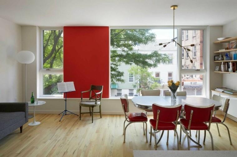 casa decor comedor pared sillas rojo ideas