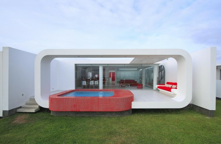 casa decor opciones jardin piscina mosaico rojo ideas