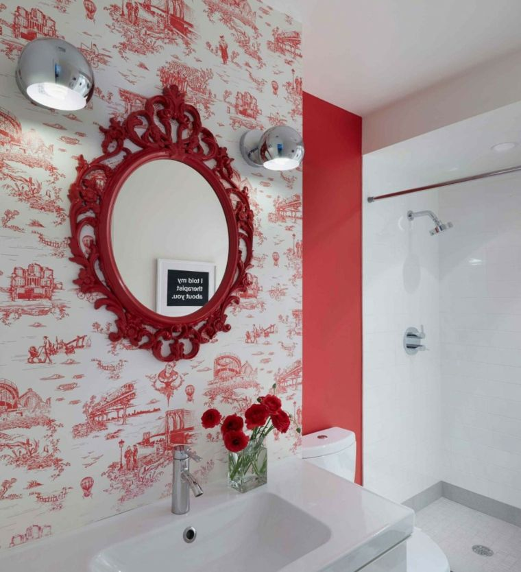 casa decor pared bano flores frescas rojas ideas