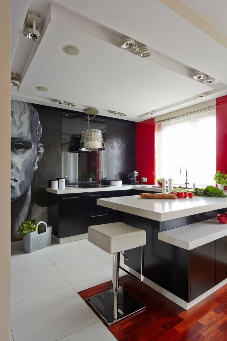 casa decor pared rojo negro muebles barra ideas