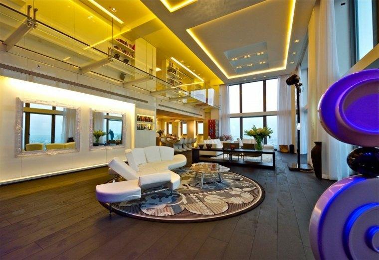 casa moderna crital camino iluminacion led ideas