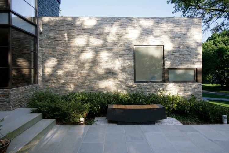 casa moderna fachada piedra