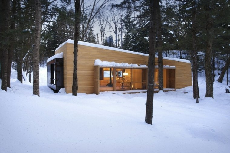 casa campo nevada porche madera