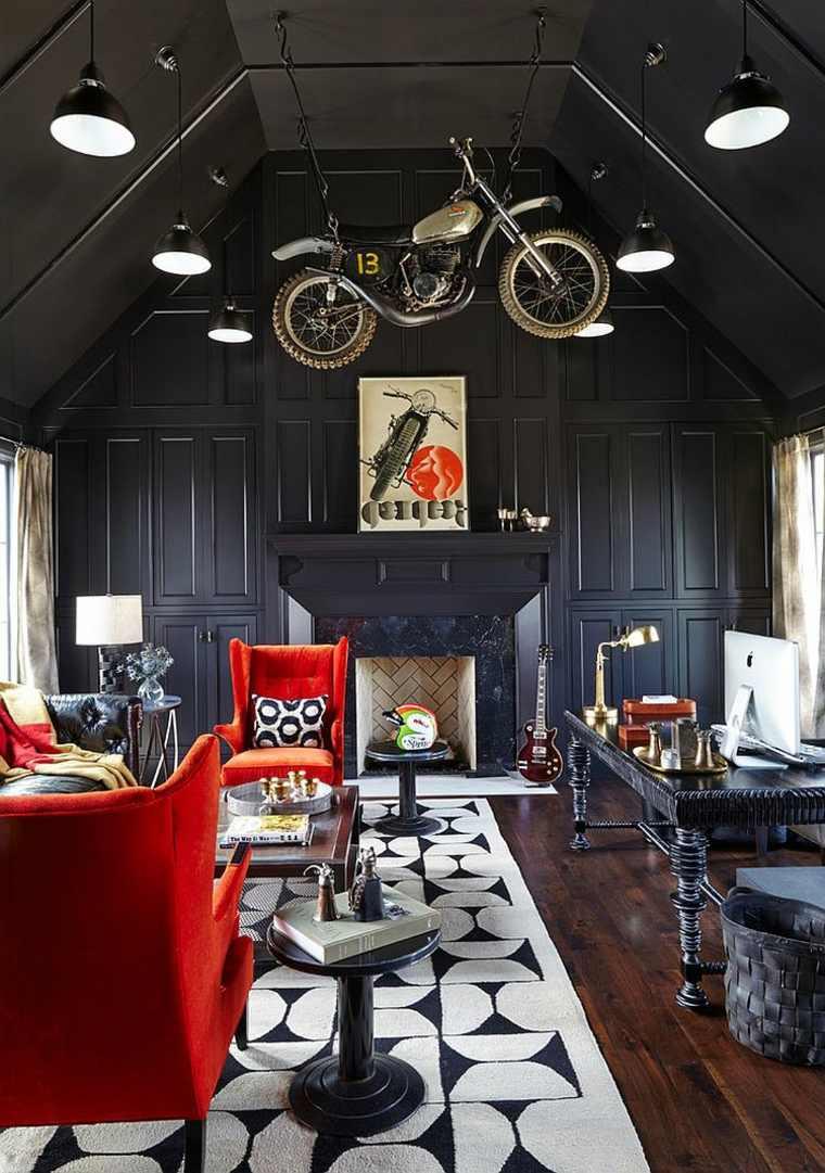 casa paredes negras sillones rojos destacan ideas
