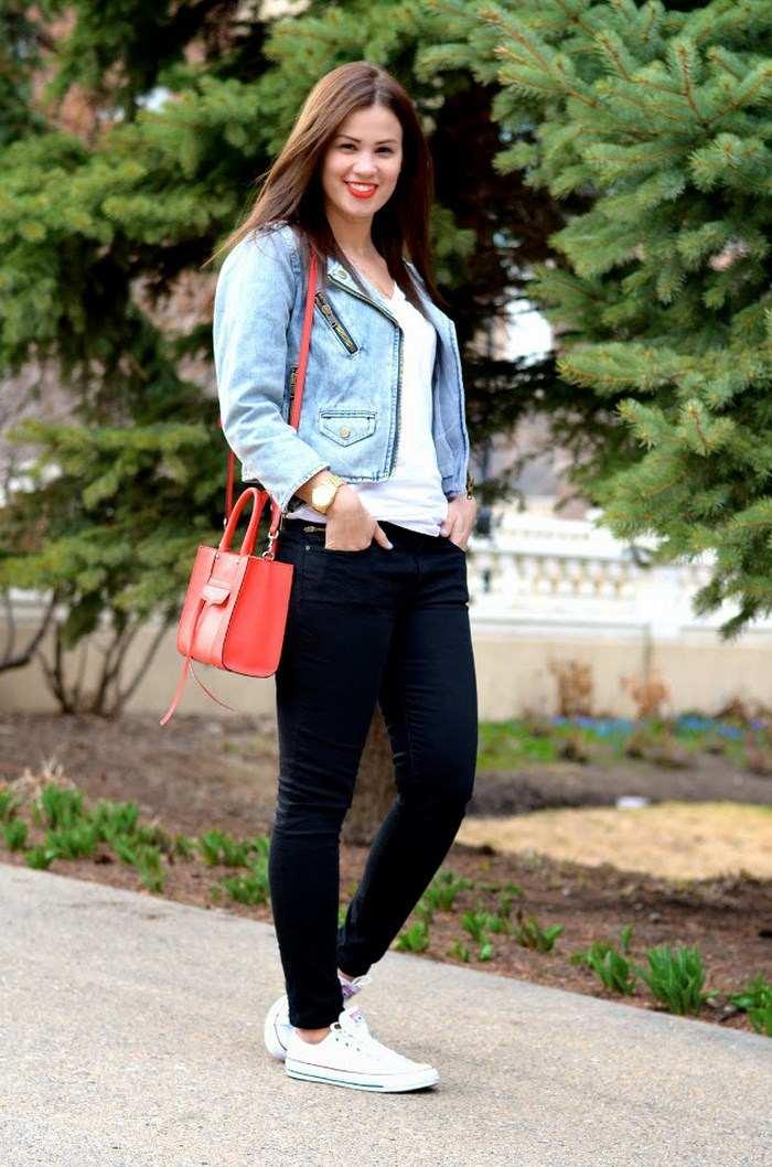 chaqueta vaquera preciosas bolso rojo ideas