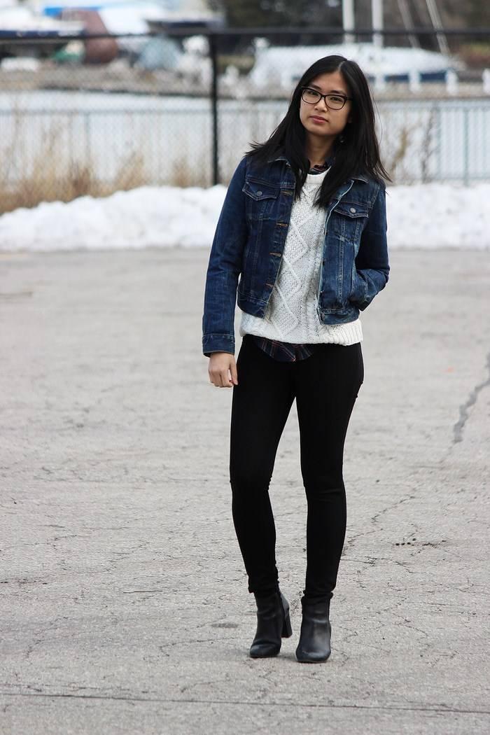 chaqueta vaquera preciosas botas negras cuero ideas