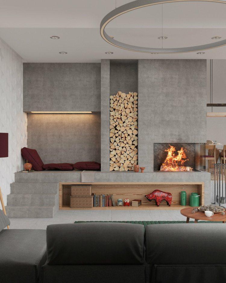 chimeneas modernos salones estilo puentes fuegos