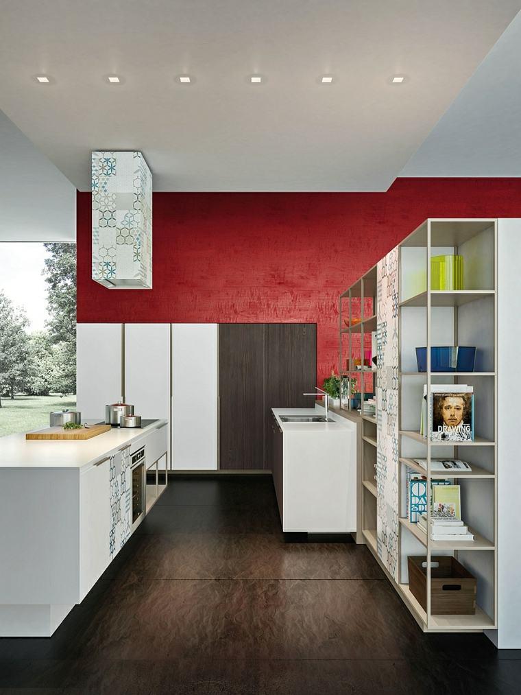 cocina abierta isla muebles blancos pared roja ideas