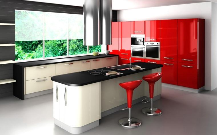 cocina amplia isla muebles rojo negro ideas