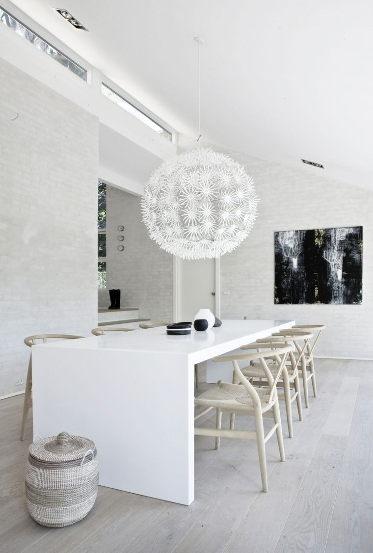 cocina comedor isla moderna blanca