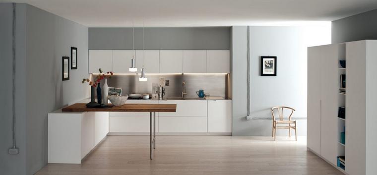 cocina cuadrada barra paredes azules armario blanco ideas - Cocinas Cuadradas