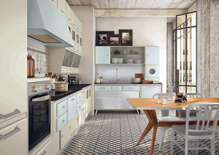 cocina cuadrada diseno vitage muebles azul claro ideas
