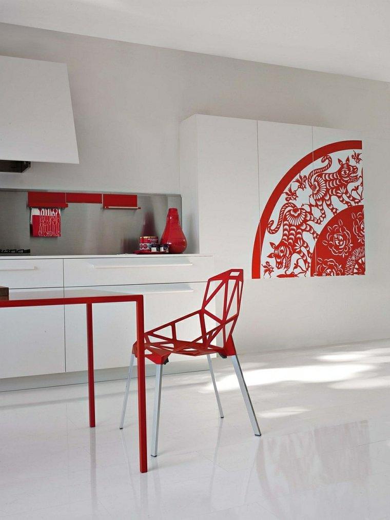 cocina mesa silla moderna roja ideas