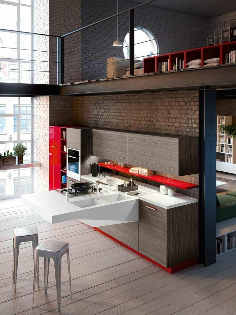 cocina moderna muebles madera toques rojo ideas