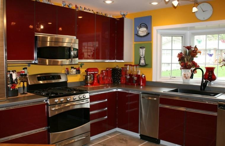 cocina muebles color rojo oscuro precioso ideas