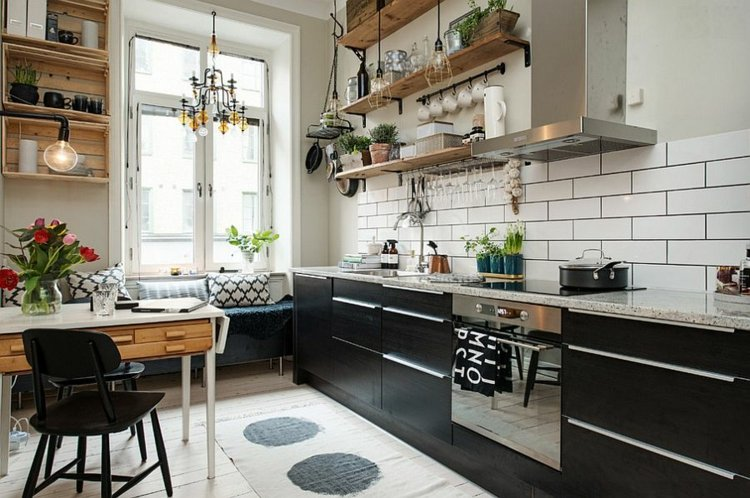 cocina moderna muebles color negro