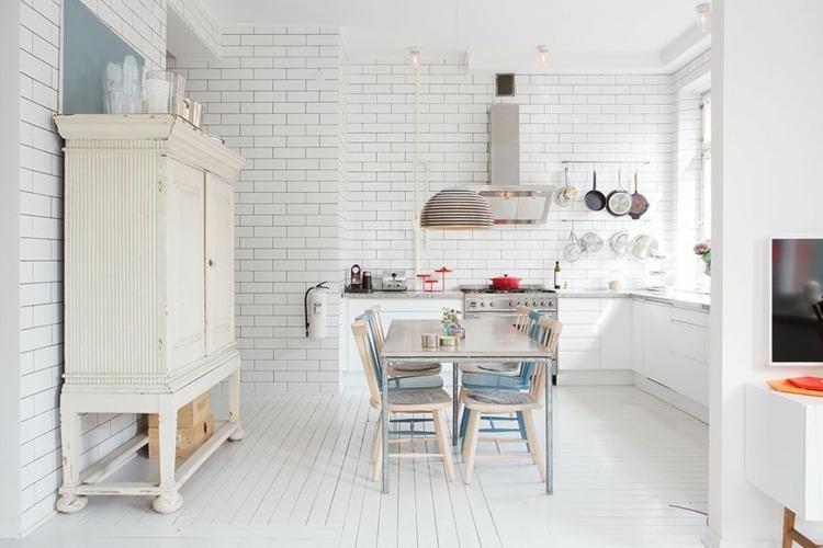 Dise os cocinas peque as modernas cincuenta modelos - Cocinas vintage blancas ...