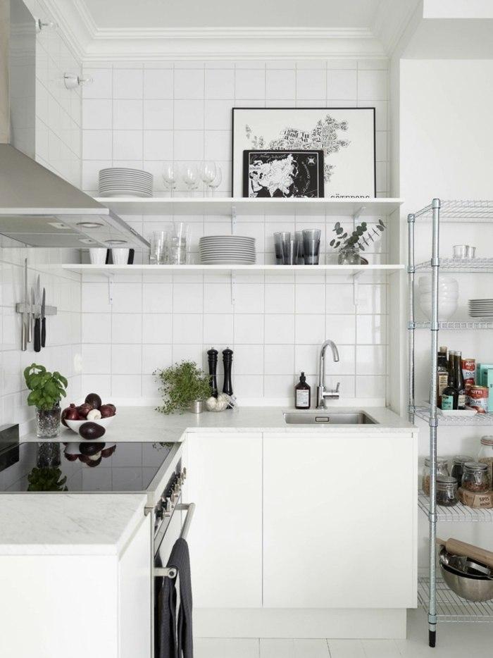 cocinas blancas pequeñas estantes metales plantas