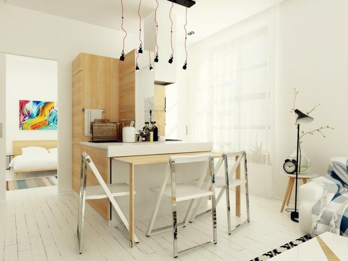 cocinas blancas pequeñas muebles alineacion suelos