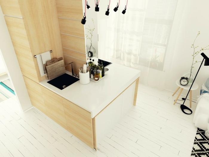 cocinas blancas pequeñas muebles cerradas azules