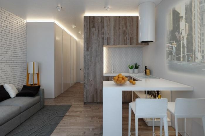 cocinas blancas pequeñas muebles modernos ladrillos