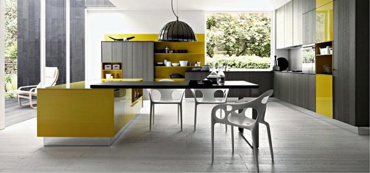 cocinas modernas distribucion amarillo muebles suelos
