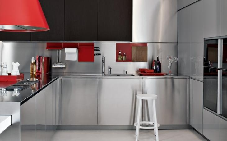cocinas modernas distribucion armarios rojos silla