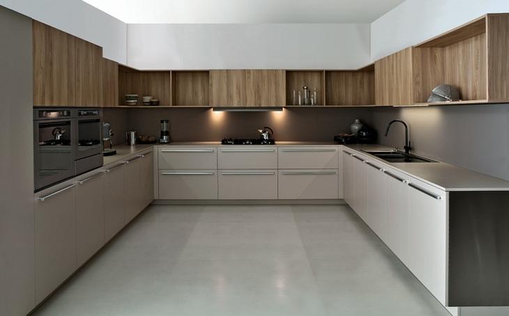 Cocinas modernas distribucion en u y otras variantes for Cocinas de madera modernas 2016