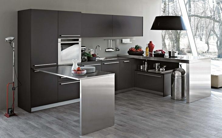 cocinas modernas distribucion grises elegantes abierta