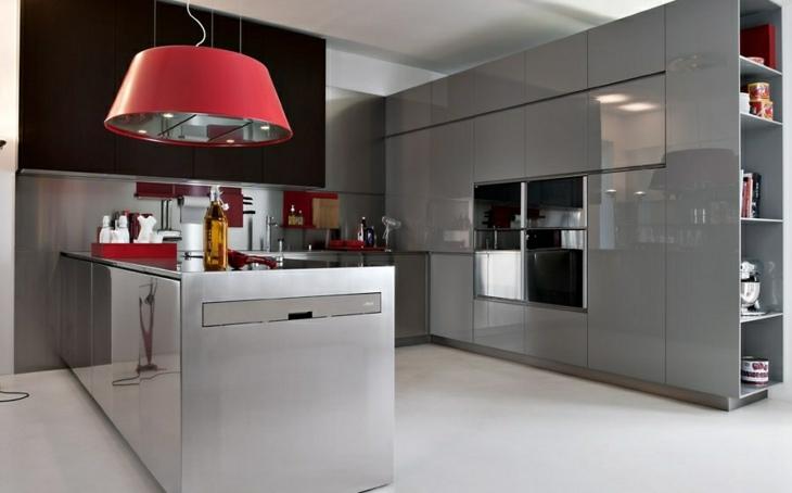 cocinas modernas distribucion lamparas rojas estilos