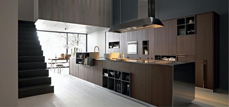 cocinas modernas distribucion maderas estantes lamparas