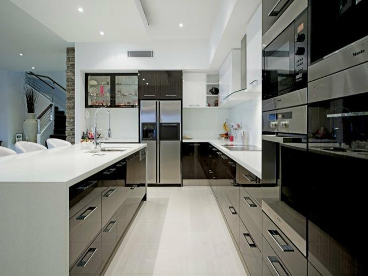 cocinas modernas distribucion marrones brillo sala