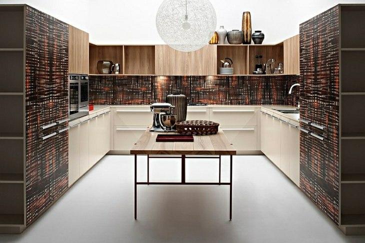 cocinas modernas distribucion marrones rocas texturas pared