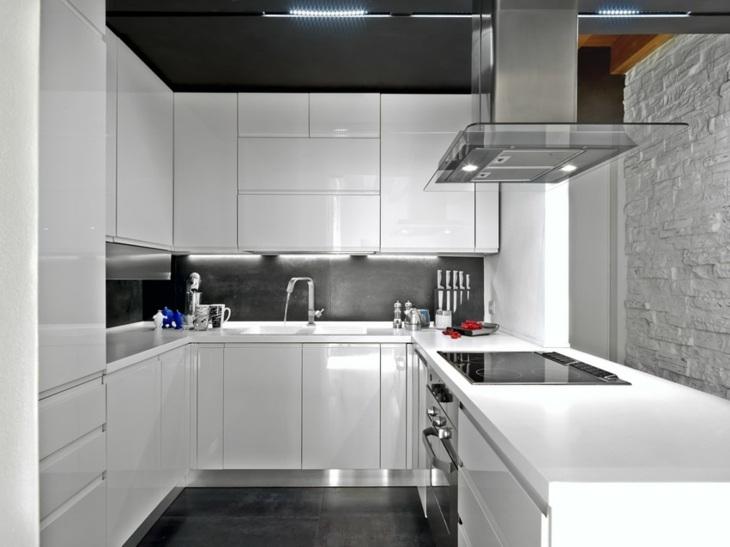 cocinas modernas distribucion marrones rocas blanco