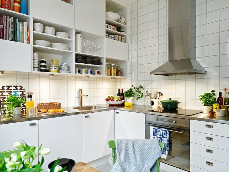 muebles cocina blancos acero