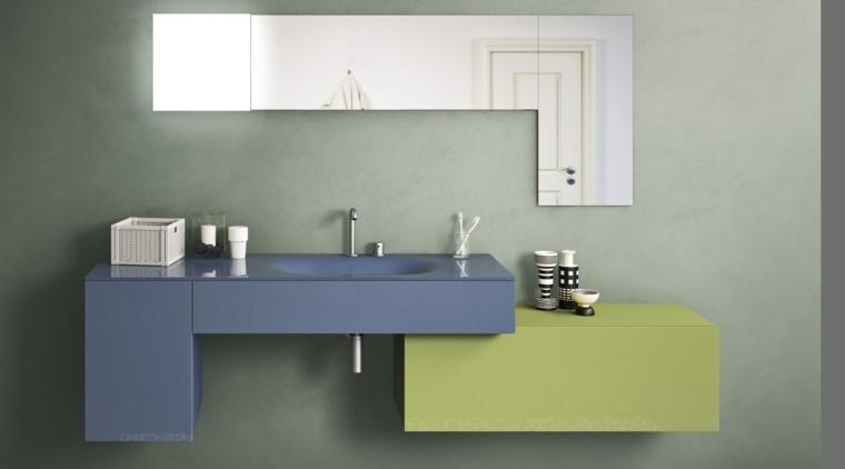 combinacion azul verde muebles bano moderno ideas