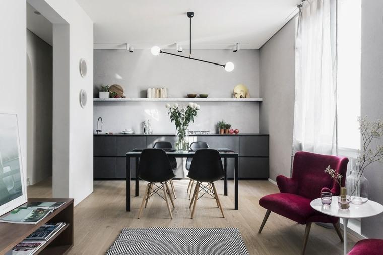 comedor moderno sillas negras pequeño