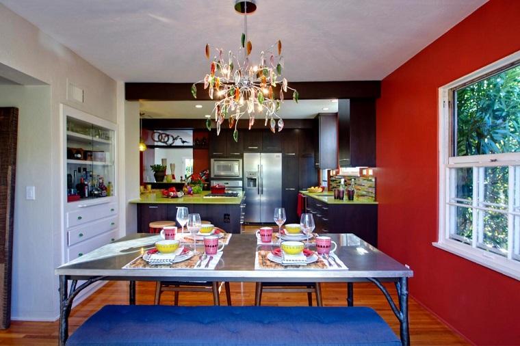 comedor pared color rojo ventana ideas