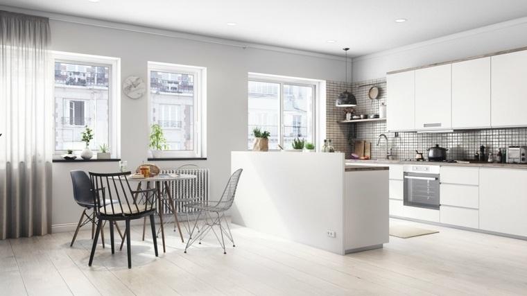 comedor cocina moderna blanca diseño