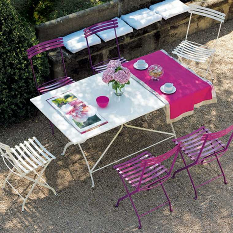 comida cena exterior muebles blanco rosa ideas