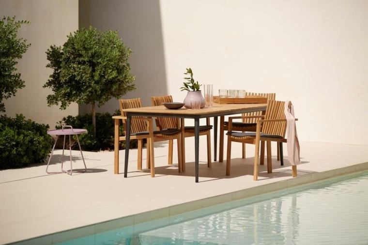 comida cena exterior muebles madera piscina plantas ideas