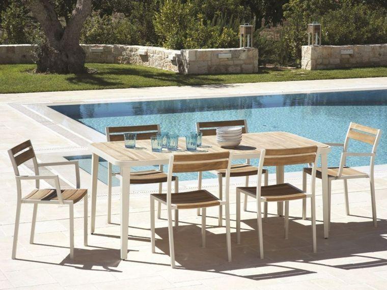 comida cena exterior muebles madera piscina ideas