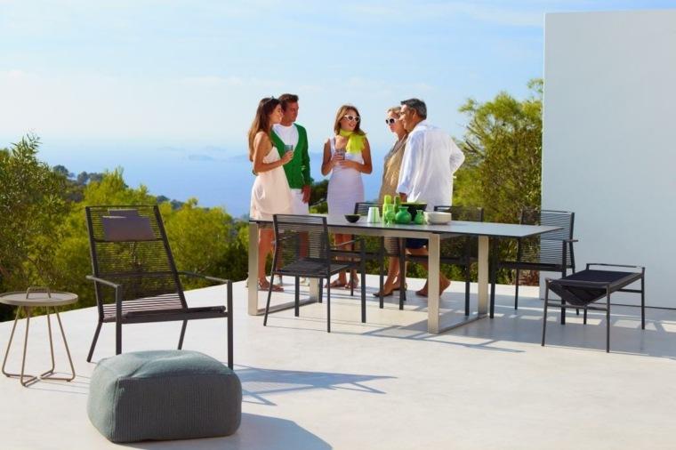 comida cena exterior muebles modernos acero ideas