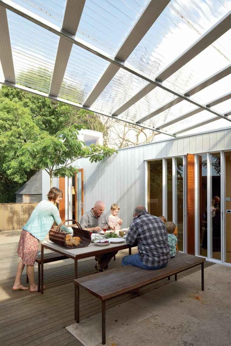 comida cena exterior muebles patio trasero ideas