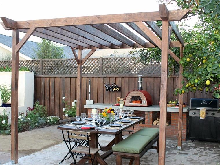 comida cena exterior muebles pergola madera ideas