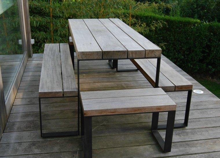 Comida o cena al aire libre 100 ideas para tu jard n - Mesas madera exterior ...