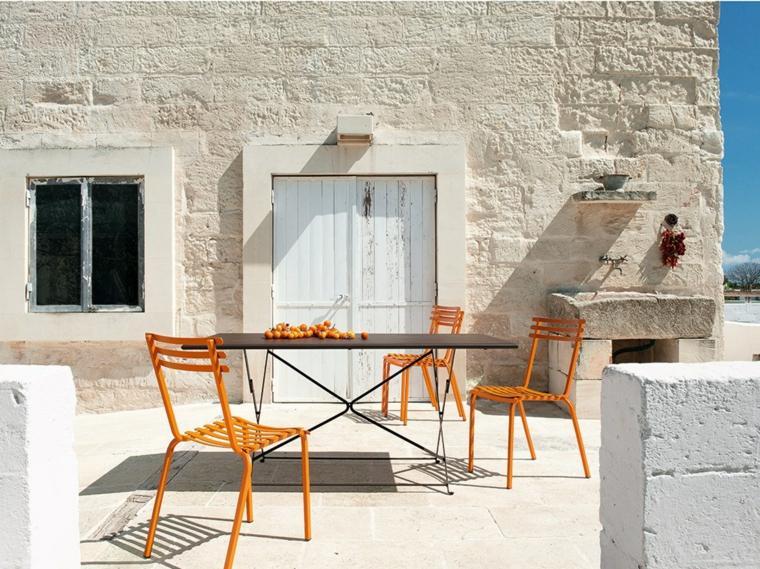 comida cena exterior muebles sillas naranja ideas
